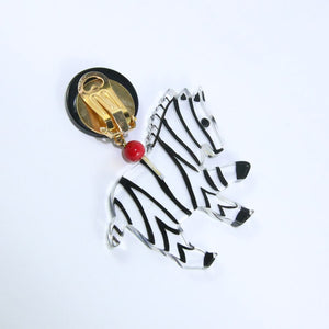 Pavone (France) Signed Square Galalith Hand-Painted Zebra Earrings - Clear, Black, Red (Clip-on)