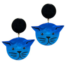 Load image into Gallery viewer, Pavone (France) Signed Medium Galalith Hand-Painted Cat Earrings - Blue (Clip-on)