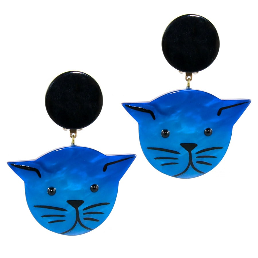 Pavone (France) Signed Medium Galalith Hand-Painted Cat Earrings - Blue (Clip-on)