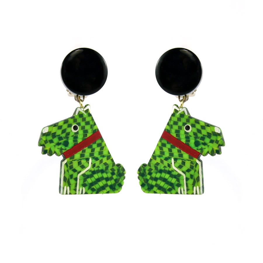 Pavone (France) Signed Square Galalith Hand-Painted Green Scotty Dog Earrings (Clip-on)