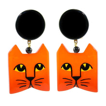 Load image into Gallery viewer, Pavone (France) Signed Square Galalith Hand-Painted Cat Earrings - Orange (Clip-on)