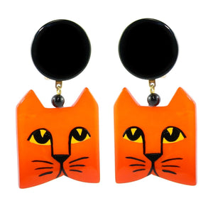 Pavone (France) Signed Square Galalith Hand-Painted Cat Earrings - Orange (Clip-on)
