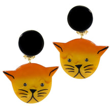 Load image into Gallery viewer, Pavone (France) Signed Medium Galalith Hand-Painted Cat Earrings - Orange (Clip-on)