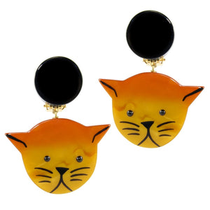 Pavone (France) Signed Medium Galalith Hand-Painted Cat Earrings - Orange (Clip-on)