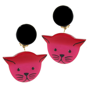 Pavone (France) Signed Medium Galalith Hand-Painted Cat Earrings - Fuchsia Pink (Clip-on)