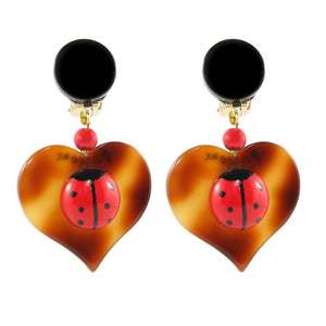 Pavone (France) Signed Square Galalith Hand-Painted Heart, Lady Beetle Earrings (Clip-on)