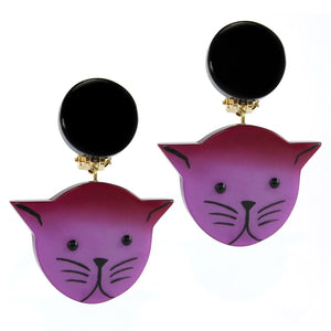 Pavone (France) Signed Medium Galalith Hand-Painted Cat Earrings - Purple (Clip-on)