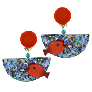 Pavone (France) Signed Square Galalith Hand-Painted Glitter Fish Bowl Earrings (Clip-on)