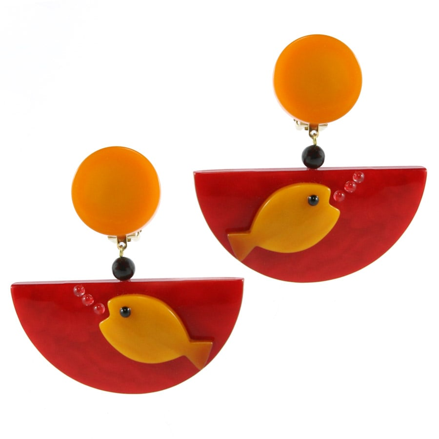 Pavone (France) Signed Square Galalith Hand-Painted Red, Yellow Fish Bowl Earrings (Clip-on)