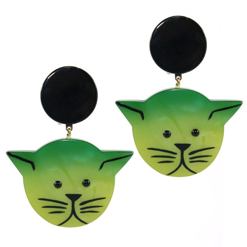 Pavone (France) Signed Medium Galalith Hand-Painted Cat Earrings - Green (Clip-on)