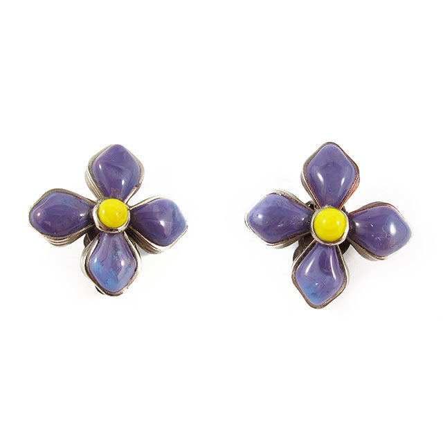 Authentic vintage Chanel gripoix glass flower earrings c.1996
