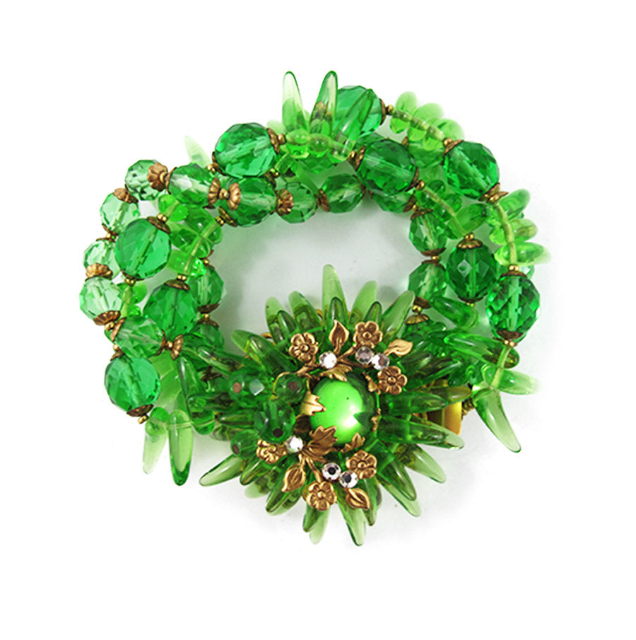 Miriam Haskell Vintage Signed Green Faceted Crystal Gold Floral Detail Bracelet