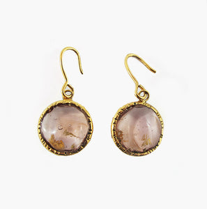Pate-de-Verre (Hand-poured-glass) Earrings with 24 carat gold flecs