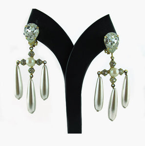 Harlequin Market Crystal and Pearl Earrings