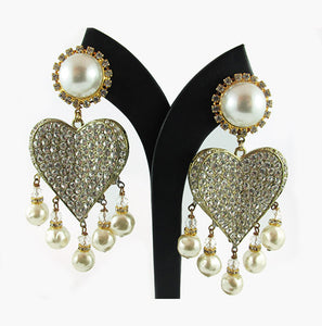 Harlequin Market Pearl and Crystal Heart Earrings