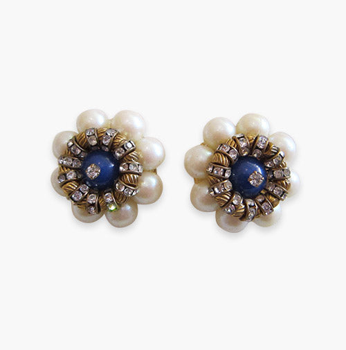 Vintage Faux Pearl Earrings -(Clip- On Earrings)