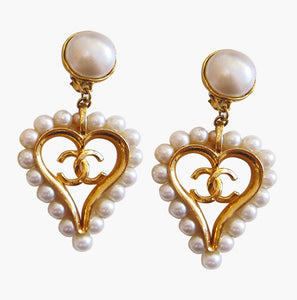 Chanel Faux Pearl Drop Earrings