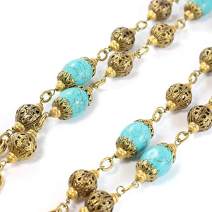 By Phillippe Paris for Harlequin Market Gold Tone Chain Necklace with Faux Antique Turquoise Glass Beads & Vintage Beads Necklace