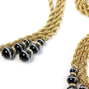 By Phillippe Paris for Harlequin Market Gold Tone Multi Chain Laureate Necklace with Vintage Glass Beads