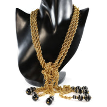 Load image into Gallery viewer, By Phillippe Paris for Harlequin Market Gold Tone Multi Chain Laureate Necklace with Vintage Glass Beads