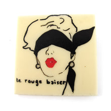 Load image into Gallery viewer, Signed 'C.D' Hand Painted 'Le Rouge Baiser' Plastic Brooch