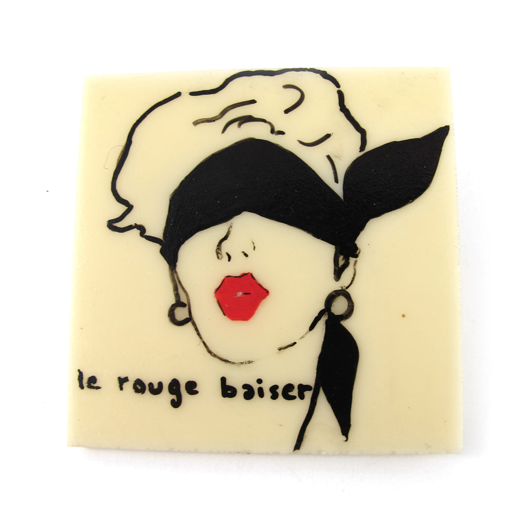 Signed 'C.D' Hand Painted 'Le Rouge Baiser' Plastic Brooch