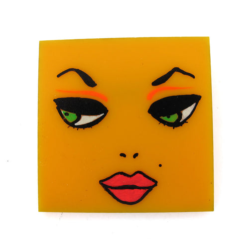 Signed 'C.D' Hand Painted 'Face' Plastic Brooch