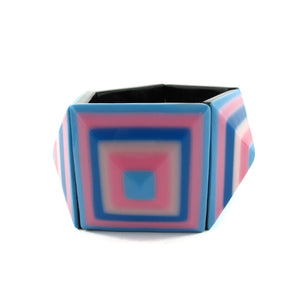 HQM Contemporary Acrylic Square Retro Pattern Stretch Cuff