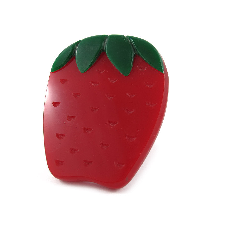HQM Contemporary Pop Art Plastics Strawberry Ring