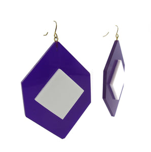 HQM Contemporary Acrylic Pop Art Earrings - Blue-White