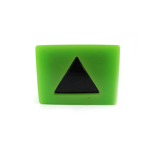 HQM Contemporary Acrylic Pop Art Triancle Box Ring - Green
