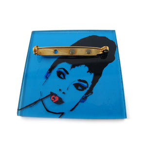 HQM - Signed 'C.D' Hand Painted 'Audrey Hepburn' Plastic Brooch