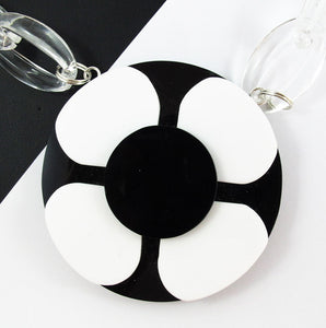 "Harlequin Market - HQM Acrylic ""Pop Art"" Monochrome Flower Necklace"