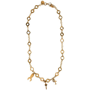 Prada Gold Tone Nuts & Bolts Necklace