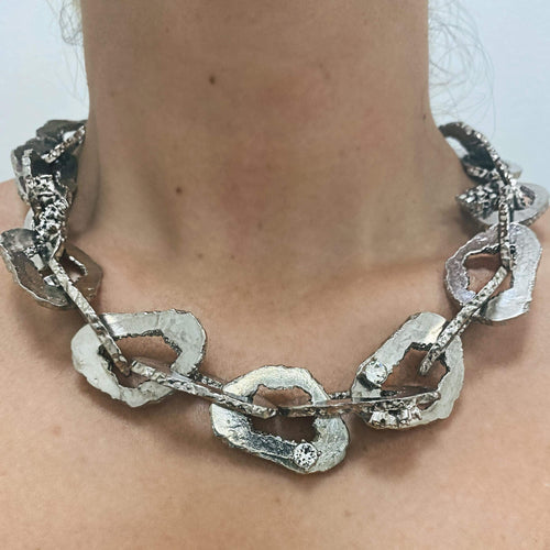 Ciner NY Crystal Chunky Link Disc Chain Necklace - Silver