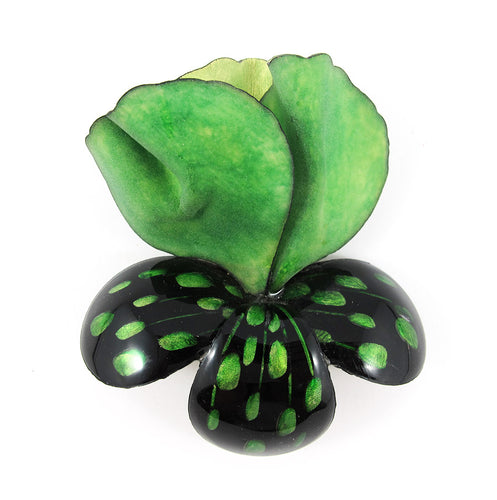 HQM - Signed 'C.D' Resin Green - Black Flower Brooch