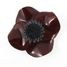 Load image into Gallery viewer, HQM - Signed 'C.D' Resin Brown Poppy Flower Brooch