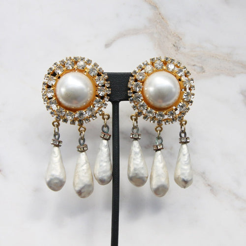 Signed 'The Show Must Go On' Drop Crystal & Faux Pearl Earring -(Clip-On Earrings)