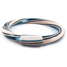 Load image into Gallery viewer, Lea Stein Vintage Jonc Swirl Bangle - White Brown Blue