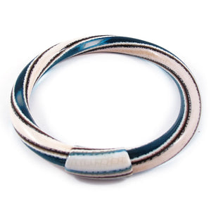 Lea Stein Vintage Jonc Swirl Bangle - White Brown Blue