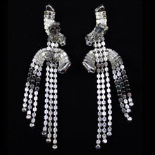 Load image into Gallery viewer, Vintage Clear Crystal Deco Long Waterfall Tassel Earrings c. 1970 (Clip-on)