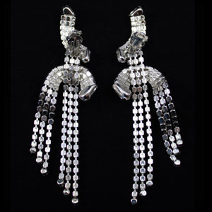 Vintage Clear Crystal Deco Long Waterfall Tassel Earrings c. 1970 (Clip-on)