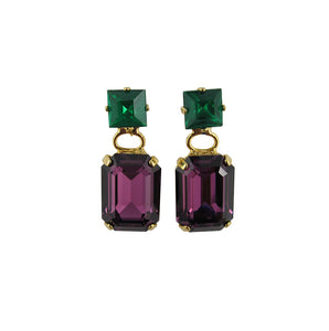 Harlequin Market Double Crystal Earrings - Black & Ruby