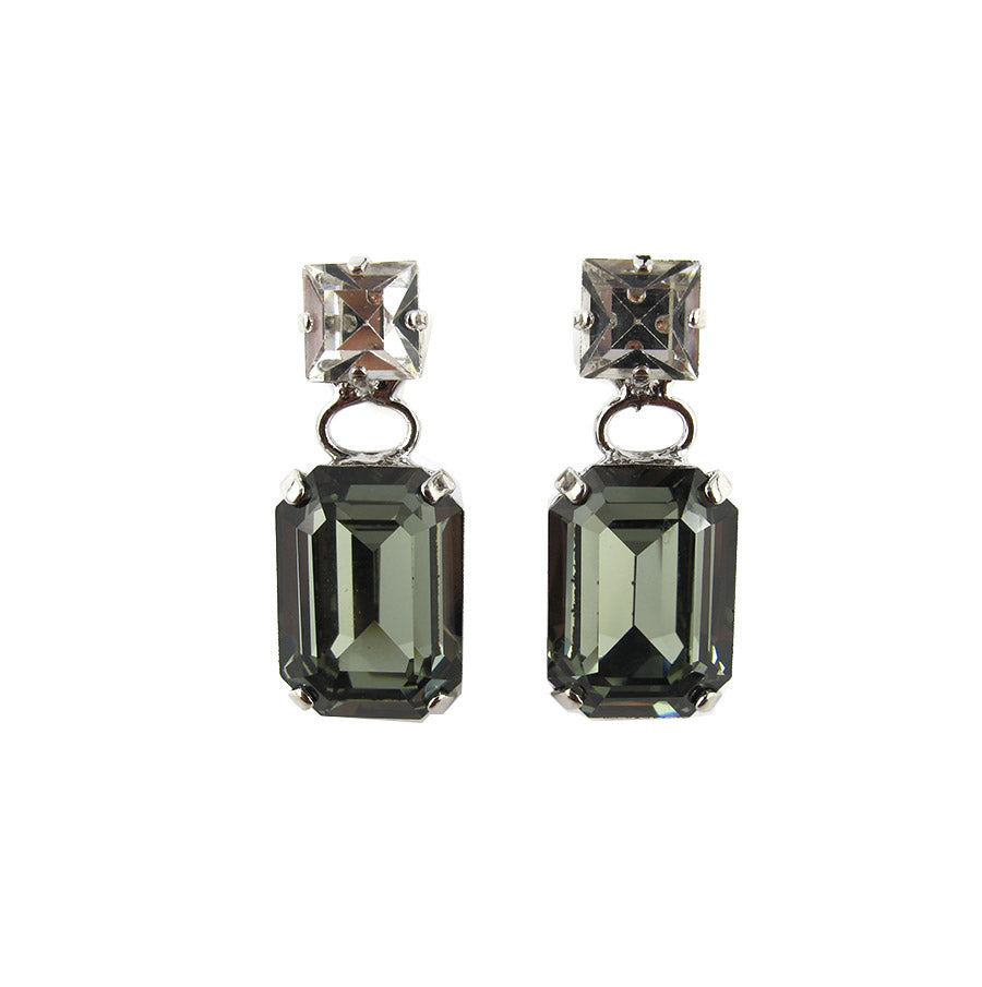 Harlequin Market Double Crystal Earrings - Clear & Black Diamond