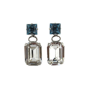 Harlequin Market Double Crystal Earrings - Clear & Aquamarine