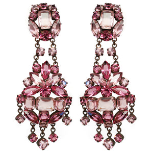 Large Rose Coloured Venetian Glass Crystals -(Clip-On Earrings)