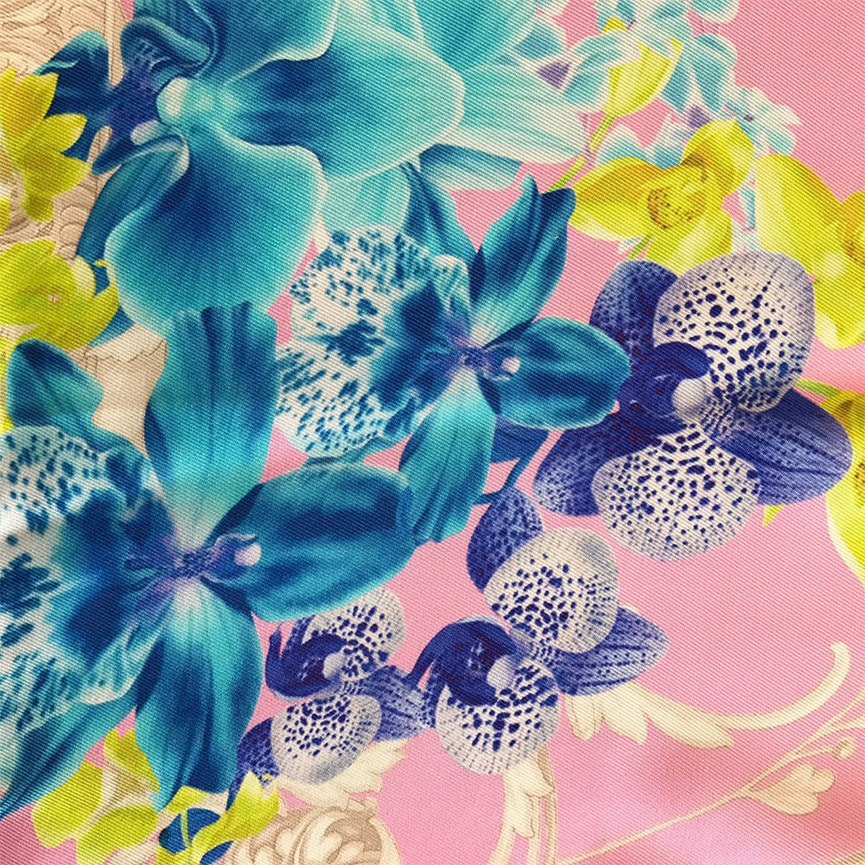 Versace Silk Scarf 86cm - Pink, Blue, Green, Flower Design