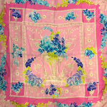 Load image into Gallery viewer, Versace Silk Scarf 86cm - Pink, Blue, Green, Flower Design