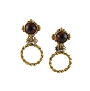 Vintage Matte Finnish Pierced Gold Plated Amber Colour Glass Stone Earrings