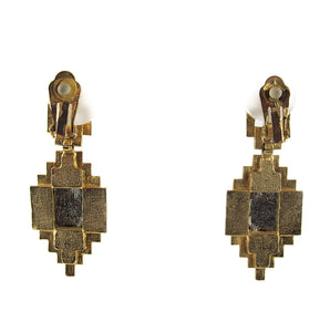 Vintage 1950's USA Geometric Shape Gold Plated - Rhinestone Earrings